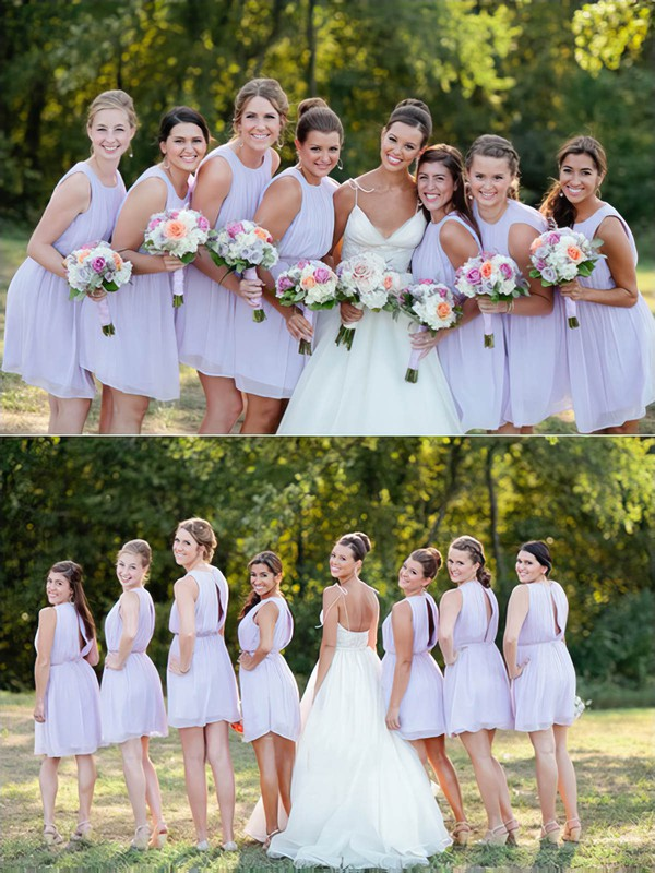 Cute Scoop Neck Chiffon Sashes / Ribbons Short/Mini Bridesmaid Dresses #DOB01012751