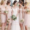 V-neck Elegant Lace Sashes / Ribbons Short/Mini Sheath/Column Bridesmaid Dresses #DOB01012752