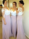 Hot V-neck Tulle Silk-like Satin Appliques Lace 3/4 Sleeve Sheath/Column Bridesmaid Dresses #DOB01012753