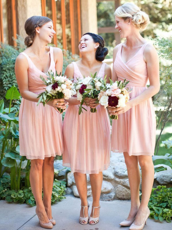 Affordable Chiffon Knee-length Ruffles Pink V-neck Bridesmaid Dresses #DOB01012754