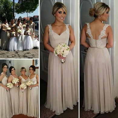 Wholesale Chiffon Floor-length Appliques Lace V-neck Long Bridesmaid Dresses #DOB01012755