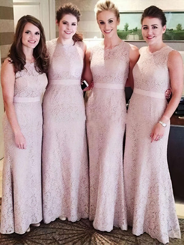 Promotion Lace Ankle-length Sashes / Ribbons Sheath/Column Bridesmaid Dresses #DOB01012756