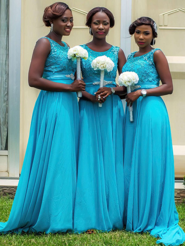 Discounted Chiffon Sweep Train Beading Scoop Neck Blue Bridesmaid Dresses #DOB01012759