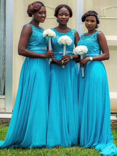 Discounted Chiffon Sweep Train Beading Scoop Neck Blue Bridesmaid Dresses #DOB01012759