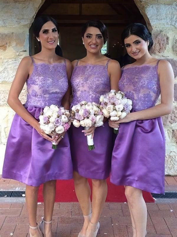 Different Elastic Woven Satin Appliques Lace Knee-length Square Neckline Bridesmaid Dresses #DOB01012761