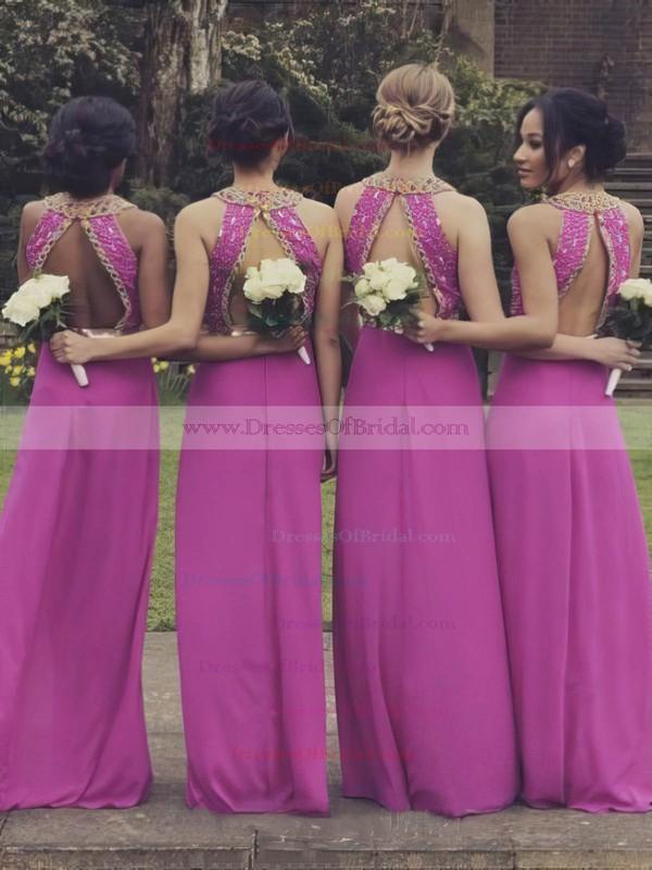 Newest Scoop Neck Chiffon Beading A-line Open Back Bridesmaid Dresses #DOB01012764