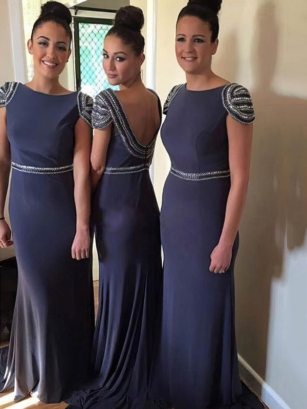 Popular Chiffon Sweep Train Beading Backless Sheath/Column Bridesmaid Dresses #DOB01012765