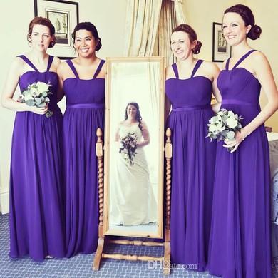 Sweet Chiffon Floor-length Sashes / Ribbons A-line Bridesmaid Dresses #DOB01012766