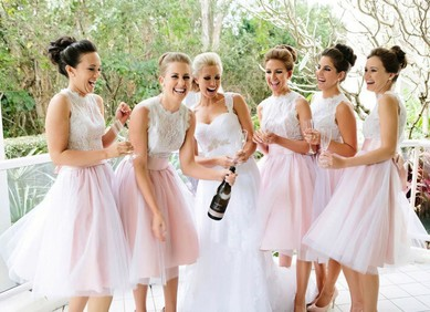 Tulle Knee-length with Lace Boutique Scalloped Neck Bridesmaid Dresses #DOB01012767