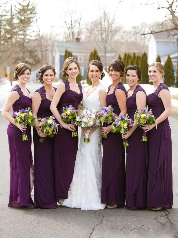 Cowl Neck Beautiful Chiffon Ankle-length Sheath/Column Bridesmaid Dresses #DOB01012768