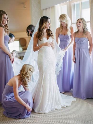 Gorgeous Chiffon Floor-length Ruffles Sweetheart Bridesmaid Dress #DOB01012770