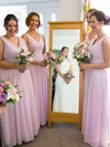 Pink Chiffon Floor-length with Ruffles Nice V-neck Bridesmaid Dress #DOB01012771