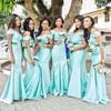 Off-the-shoulder Silk-like Satin Sashes / Ribbons Great Trumpet/Mermaid Bridesmaid Dress #DOB01012772