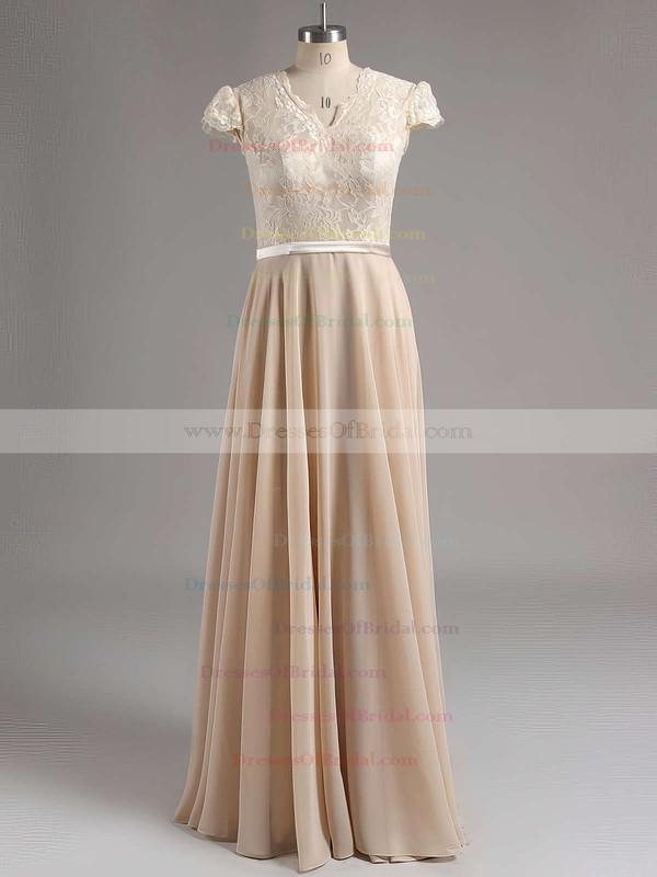Cap Straps Chiffon Floor-length with Lace Best V-neck Bridesmaid Dress #DOB01012774