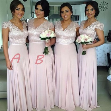 Cap Straps Chiffon Floor-length with Lace Best V-neck Bridesmaid Dress #DOB01012774