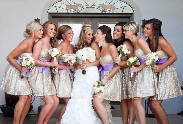 Amazing Sequined Sashes / Ribbons Sweetheart Short/Mini Bridesmaid Dress #DOB01012775