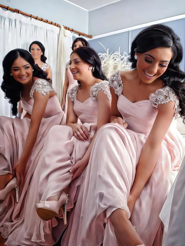 Good Chiffon Floor-length Appliques Lace V-neck Pink Bridesmaid Dress #DOB01012776