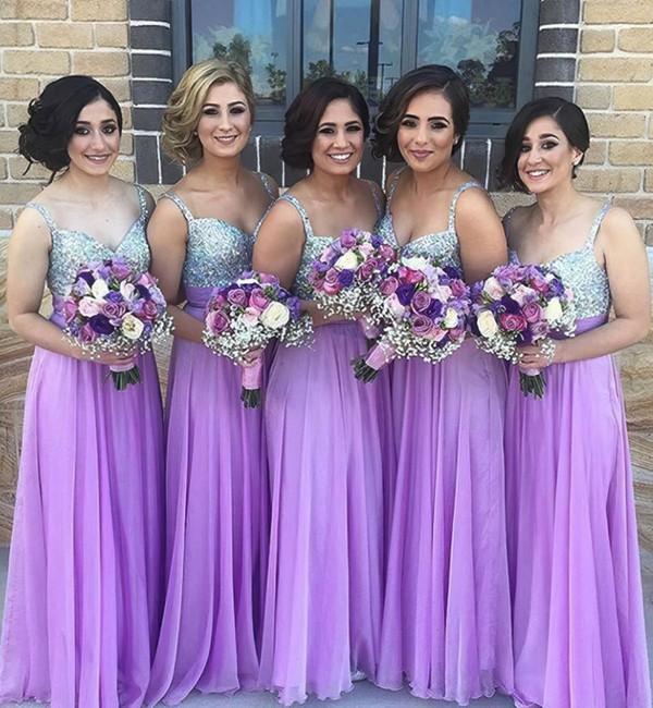 Cheap A-line Chiffon with Beading V-neck Long Bridesmaid Dress #DOB01012777