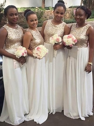 Good Chiffon Floor-length with Sequins Scoop Neck Bridesmaid Dress #DOB01012778