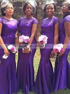 Tulle Elastic Woven Satin Sweep Train Beading Short Sleeve Trumpet/Mermaid Bridesmaid Dress #DOB01012780