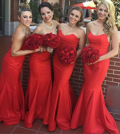 Latest Sweetheart Silk-like Satin Ruffles Red Trumpet/Mermaid Bridesmaid Dress #DOB01012781