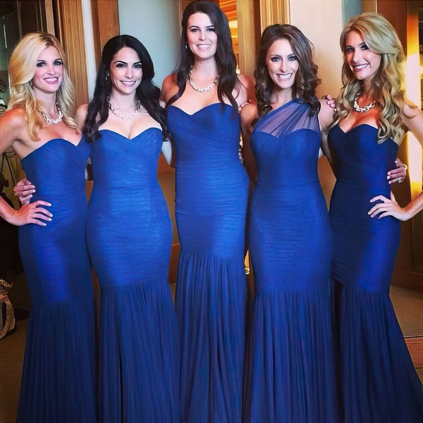 Sweetheart Tulle Ruffles Online Royal Blue Trumpet/Mermaid Bridesmaid Dress #DOB01012782