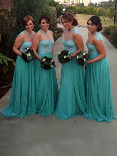 Chiffon Tulle Sweep Train Appliques Lace Scoop Neck Famous Bridesmaid Dress #DOB01012783