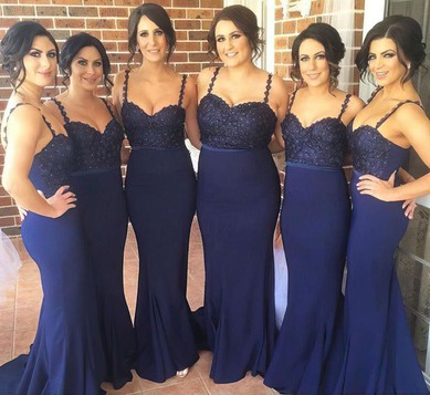 Ladies Chiffon Sweep Train Beading Dark Navy Trumpet/Mermaid Bridesmaid Dress #DOB01012784