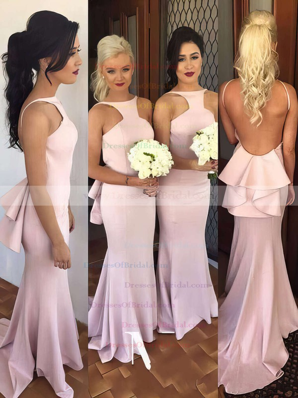 Silk-like Satin Sweep Train Ruffles Discount Backless Trumpet/Mermaid Bridesmaid Dress #DOB01012785