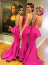 Silk-like Satin Sweep Train Ruffles Discount Backless Trumpet/Mermaid Bridesmaid Dress #DOB01012785