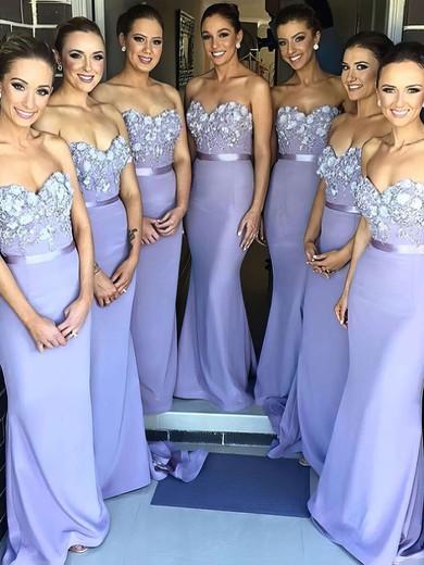 Spring Sweetheart Silk-like Satin Appliques Lace Sheath/Column Bridesmaid Dress #DOB01012786