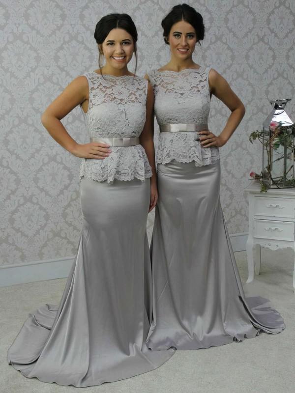 Scalloped Neck Lace Silk-like Satin Sashes / Ribbons Open Back Trumpet/Mermaid Bridesmaid Dress #DOB01012788