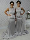 Scalloped Neck Lace Silk-like Satin Sashes / Ribbons Open Back Trumpet/Mermaid Bridesmaid Dress #DOB01012788