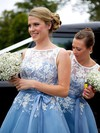 Elegant Tulle Appliques Lace Scoop Neck Tea-length Bridesmaid Dress #DOB01012790