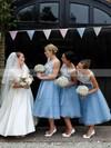 Elegant Tulle Appliques Lace Scoop Neck Tea-length Bridesmaid Dress #DOB01012790