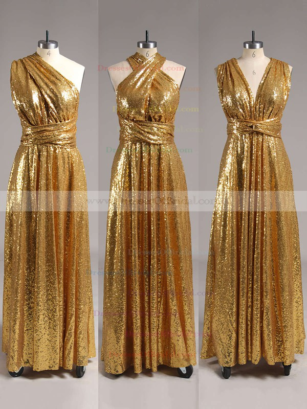 Backless A-line V-neck Gold Sequined Sexy Bridesmaid Dresses #DOB01012791