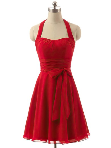 Short/Mini Halter Chiffon Sashes / Ribbons Vintage Red Bridesmaid Dresses #DOB01012792