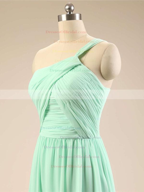 Modest Chiffon Sweep Train Ruffles Sage One Shoulder Bridesmaid Dresses #DOB01012793