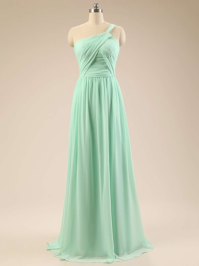 Modest Chiffon Sweep Train Ruffles Sage One Shoulder Bridesmaid Dresses #DOB01012793