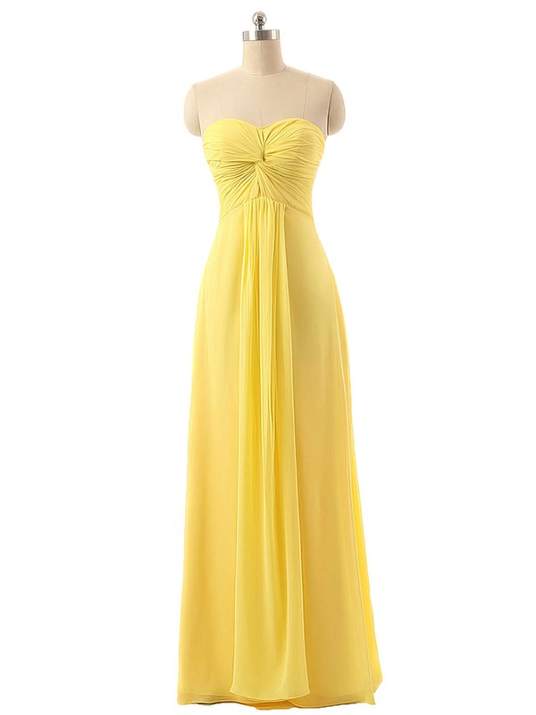 Floor-length Sweetheart Chiffon Criss Cross Elegant Yellow Bridesmaid Dresses #DOB01012794