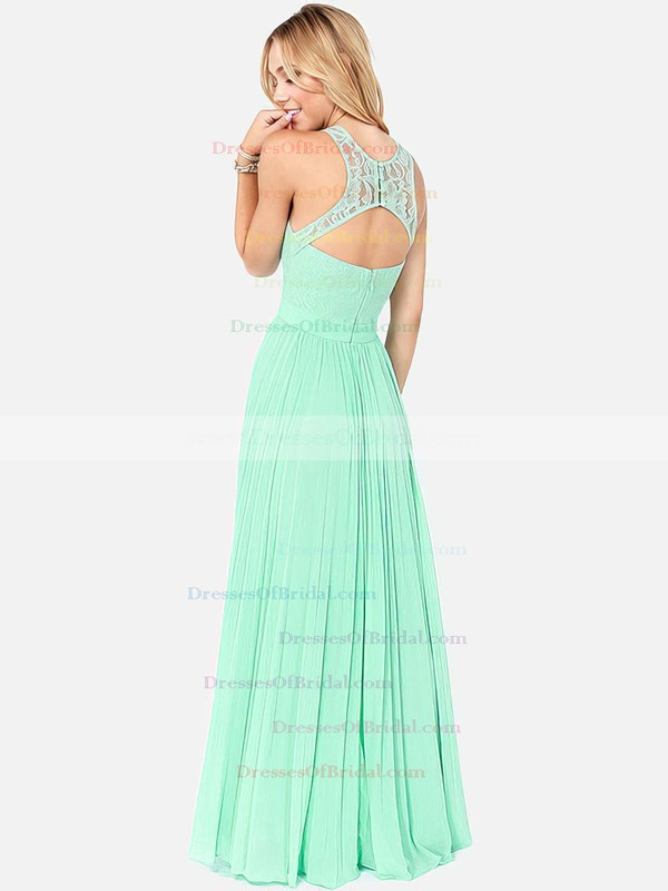 Affordable Scoop Neck Lace Chiffon with Pleats Long Bridesmaid Dresses #DOB01012795
