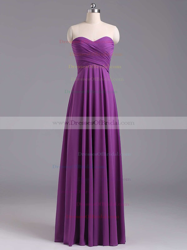 Sweetheart Chiffon Floor-length Ruffles Lace-up Lavender Bridesmaid Dresses #DOB01012796
