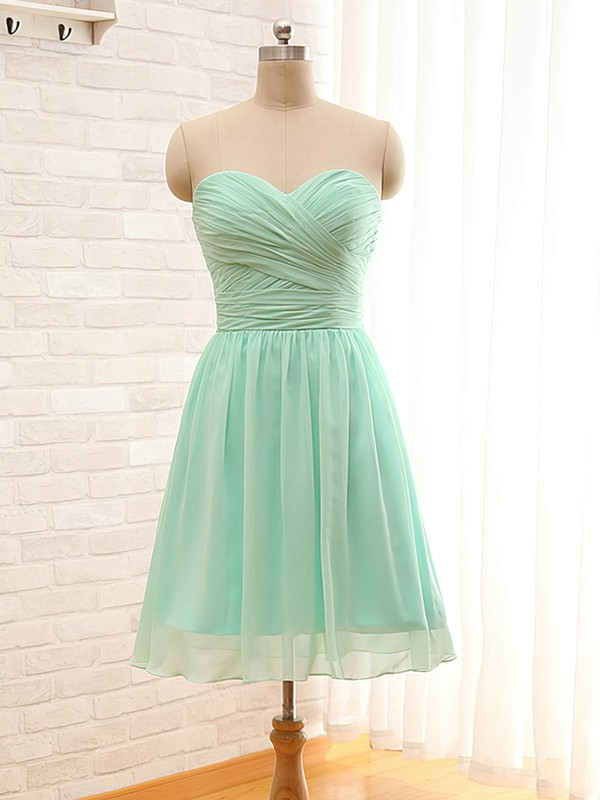 A-line Sweetheart Sage Chiffon Ruffles Short/Mini Bridesmaid Dresses #DOB01012797