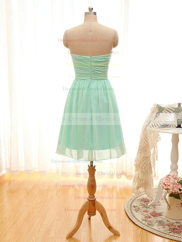 A-line Sweetheart Sage Chiffon Ruffles Short/Mini Bridesmaid Dresses #DOB01012797