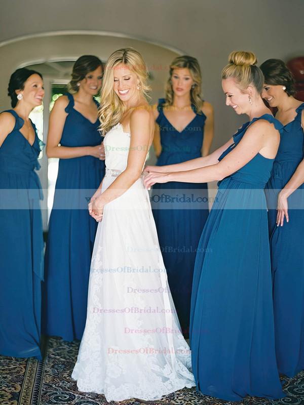 V-neck Chiffon with Ruffles Floor-length Wholesale Bridesmaid Dresses #DOB01012798