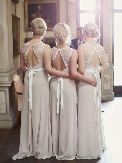 Perfect A-line Scoop Neck Lace Chiffon Sashes / Ribbons Open Back Bridesmaid Dresses #DOB01012799