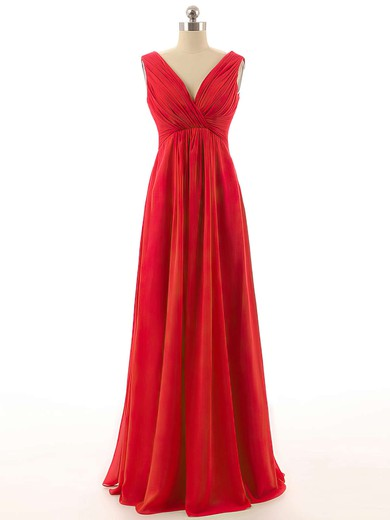 Red Empire V-neck Chiffon with Ruffles Promotion Long Bridesmaid Dresses #DOB01012800