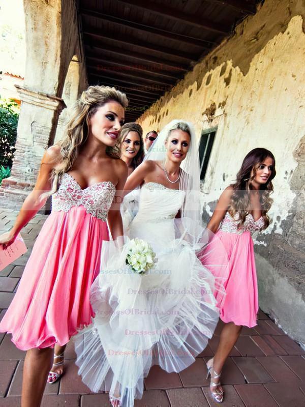 Empire Chiffon Beading Sweetheart Perfect Short/Mini Bridesmaid Dresses #DOB01012801
