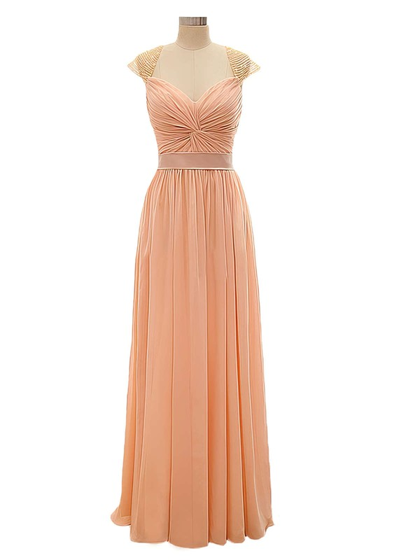 Discounted V-neck Chiffon Criss Cross A-line Long Bridesmaid Dresses #DOB01012802