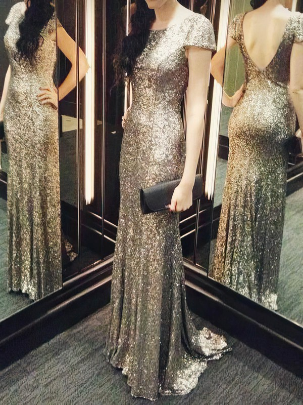 Backless Sheath/Column Scoop Neck Sequined Short Sleeve Hot Bridesmaid Dresses #DOB01012803